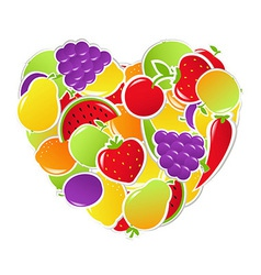 Heart From Fruit And Vegetables vector