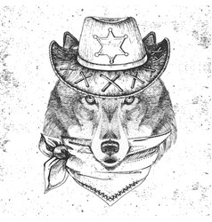 Hipster animal wolf hand drawing muzzle wolf vector