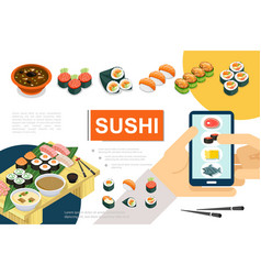 isometric japanese food composition vector image