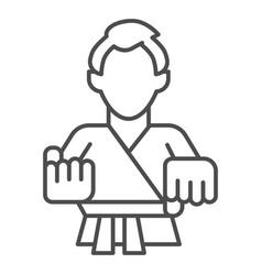 karate teacher thin line icon self defense vector image