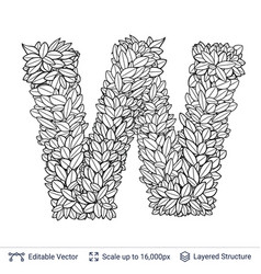 letter w symbol of white leaves vector image