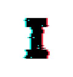 Logo letter i glitch distortion vector