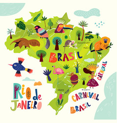 Map of brazil brazilian symbols and icons vector