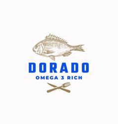 Omega 3 rich dorado fish abstract sign vector
