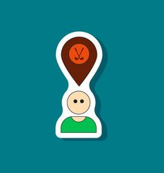 paper sticker on stylish background golfer logo vector image