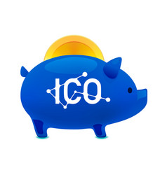 pig money box icon with falling bitcoin ico vector image