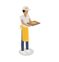 Pizza Seller with Fresh Cooked Pizza Isolated vector
