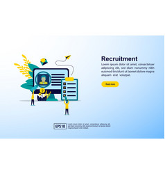 recruitment concept with icon and character vector image