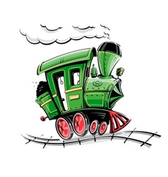 Retro cartoon locomotive vector