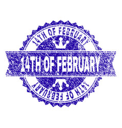 Scratched textured 14th of february stamp seal vector