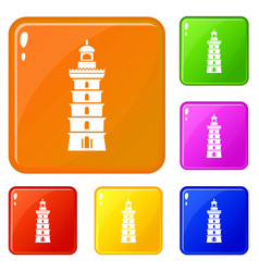 Searchlight icons set color vector