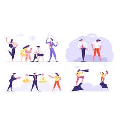 Set business people characters arm-wrestling vector