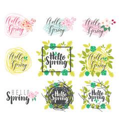 Set of handwritten inscriptions hello spring vector