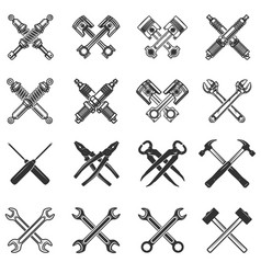 set of the crossed tools and car parts design vector image