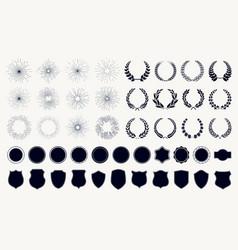 Set sunburst laurel wreaths and shields vector