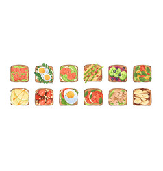 Set toasts and sandwiches with different vector