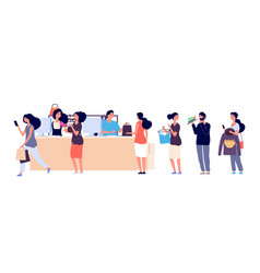 Shopping people queue fashion store cash desk vector