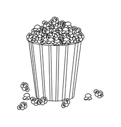 Silhouette box with pop corn icon design vector