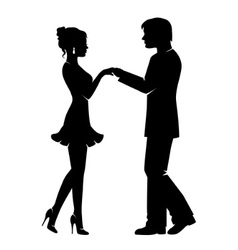 silhouette of a loving couple vector image