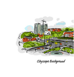 sketch of traffic road in city for your design vector image