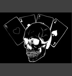 Skulls with playing cards set vector