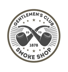 smoke shop vintage label with smoke pipe vector image