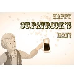 St Patricks Day vintage shamrock beer and man vector