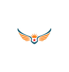 Star wing crown logo vector