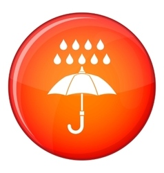 Umbrella and rain icon flat style vector
