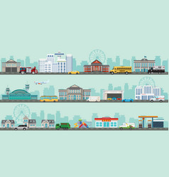 urban big cityscape with various large modern vector image