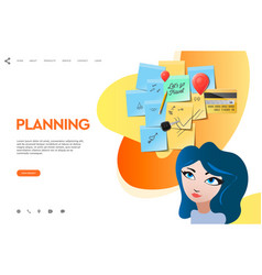 Web page template of business apps planning board vector