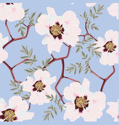 wildflower peony flower seamless pattern vector image