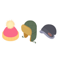 Winter headwear icons set isometric style vector