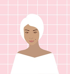 Woman in bathroom vector image