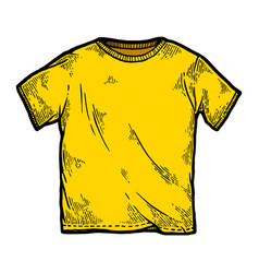 Yellow color t-shirt sketch engraving vector
