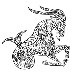 Zentangle zodiac capricorn vector