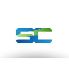 blue green sc s c alphabet letter logo vector image vector image