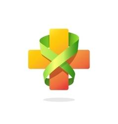 Medical cross ribbon logo isolated on white vector image