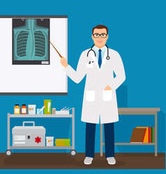medical professor checking lungs x-ray film vector image