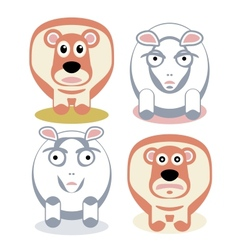 Scared and angry sheeps vector image vector image