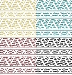 Set of simple ethnic geometric seamless pattern vector
