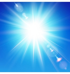 The bright sun shines on a blue sky background vector image