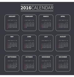 Calendar template for 2016 vector image