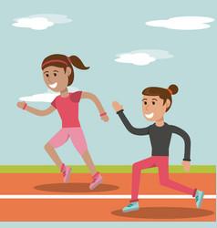 Cartoon girl running athletic physical education vector