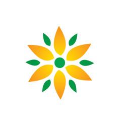 circle leaf flower eco logo vector image vector image