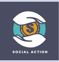 hand and money social donation and charity fund vector image vector image