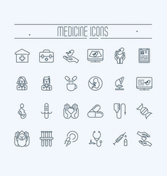 set of thin line icons medicine and heathcare vector image vector image