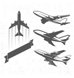 vintage airplane symbols aviation stamps vector image vector image