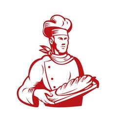 Chef cook baker holding dough bread vector