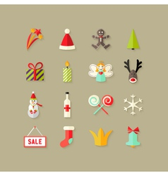 Christmas Flat Icons Set 3 vector image vector image